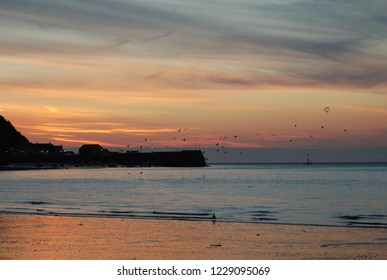 Minehead Beach at Sunset, Silhouetted Flying Flock of Birds against an Orange sky.