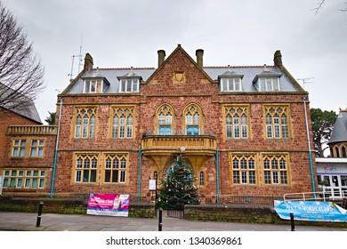 "Minehead, Somerset, England - December 23, 2018:  Minehead Methodist Church along central street ""The Avenue"""