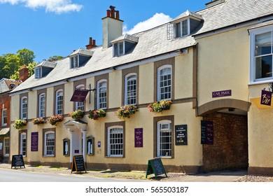 Minehead, Somerset, England - JULY 30: Dunster Castle Hotel on July 30, 2015 in Minehead, Somerset, UK. Located in National Park Dunster, 5-minute walk of St George's Church and Dunster Castle