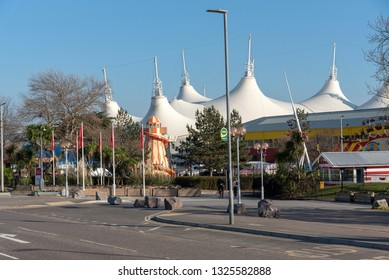 Minehead, Somerset, England, UK. February 2019. An exterior view of Butlins, famous holiday camp.