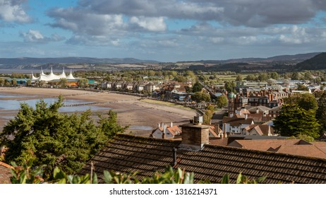 Minehead, Somerset, England, UK - October 01, 2018: View towards Minehead beach with the Butlins Skyline Pavillion in the background