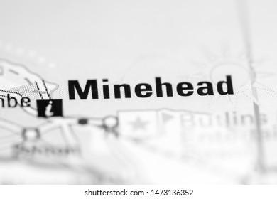Minehead. United Kingdom on a geography map