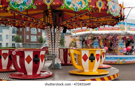Mineheadl, UK - July 27, 2016: view of tea cups carousel at Minehead fairground in UK.