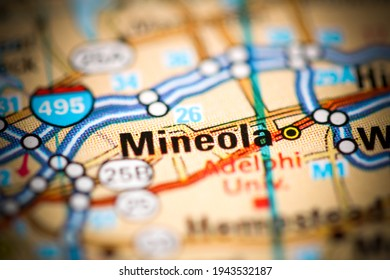 Mineola. New York. USA on a geography map