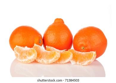 Mineola, tangerine, mandarin. White background.