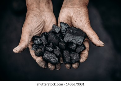 Miner holds coal palm. Concept mining. Top view