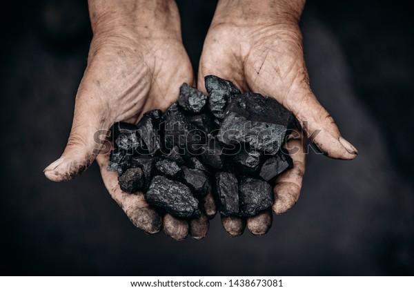 Miner sostiene palma de carbón. Concepto de minería. Vista superior