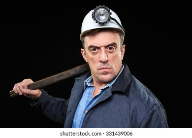 miner with a sledgehammer