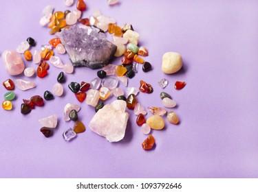 Mineral Crystals Colored Stones - Zen Environment Conveys Positive Energies - Holistic