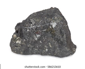 Mineral  magnetite isolated on white background. Magnetite is a mineral and one of the main iron ores. Magnetite is ferromagnetic it is attracted to a magnet and can be magnetized.