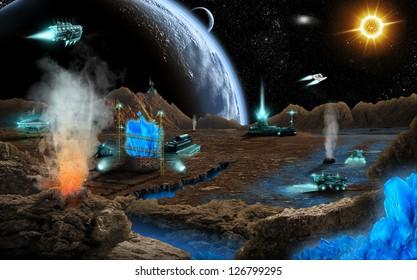 Mineral mining on far planet