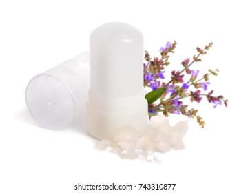 Mineral Potassium Alum crystal stick use as underarm deodorant. With sage flover. Isolated on white background.