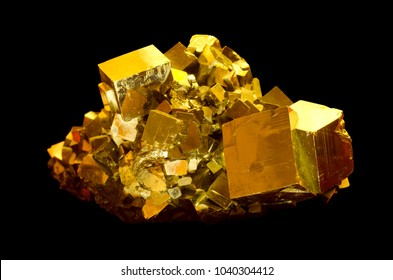 The mineral pyrite, or iron pyrite, also known as fool's gold. This is a huge specimen from a mineral museum.