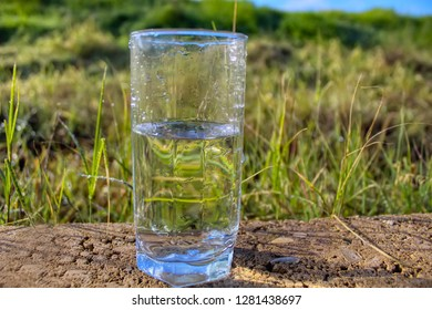 Mineral water in a glass against the background of a beautiful field and blue sky. Raindrops and Dew Drops on the grass. Nature in Israel