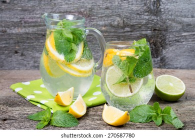 mineral water with a lemon and mint