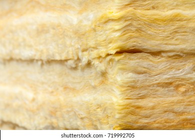Mineral wool (or mineral fiber, mineral cotton, mineral fibre, glass wool, MMMF, MMVF) fiber thermal insulation close-up