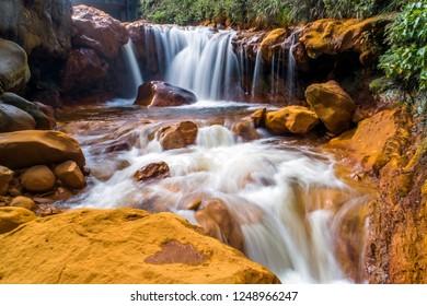 Mineral-bearing waterfalls so call golden waterfall in Jinguashi, northern east coast of Taiwan.