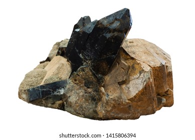 mineralogical specimen conglomerate of morion crystals, feldspar and mica isolated on white background
