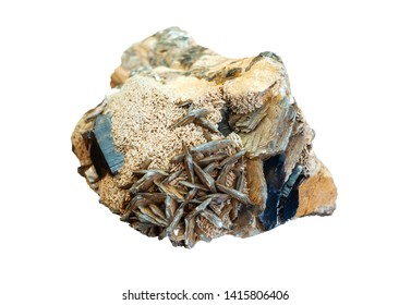 mineralogical specimen conglomerate of morion crystals, feldspar and mica isolated on gray background