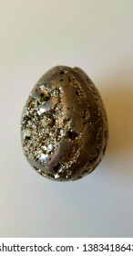 Mineralogy: Pyrite egg (fool's gold, metal mineral FeS2)