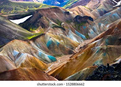 The minerals turn the mountains of Landmannalaugar in Iceland's highlands into rainbow mountains