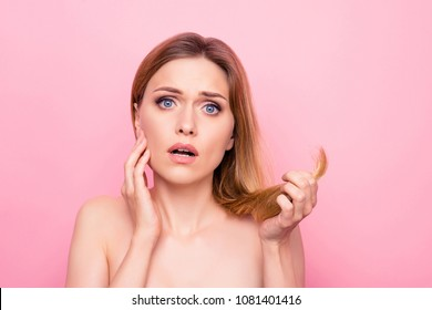 Minerals vitamins lack hand hold dry correction color natural mirror bathroom concept. Close up portrait of sad upset stressed beautiful lady holding split ends isolated background copy-space