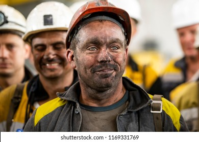 Miners after working on a coal mine. Dnipropetrovsk region, Ukraine. 31-08-2018