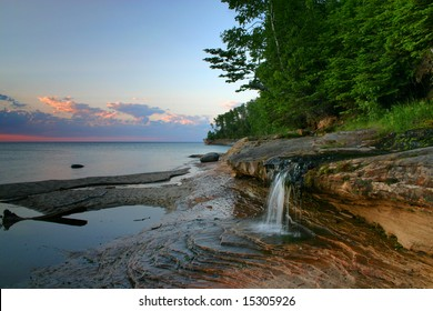 Miner's Beach Falls located in Picture Rocks National Lake Shore Michigan.