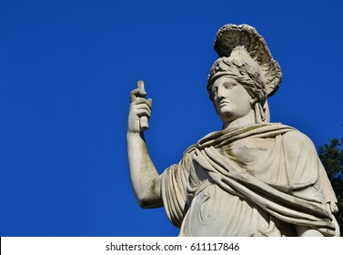 Minerva as Goddess Roma neoclassical old marble statue in People's Square in Rome (with copy space)