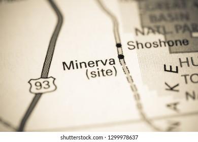 Minerva. Nevada. USA on a map