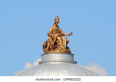 Minerva on the roof of the Academy of Arts University embankment, Saint-Petersburg, Russia