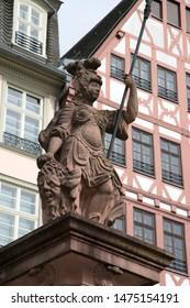 Minervabrunnen - Minerva Statue in Romerberg Square, Frankfurt; Germany