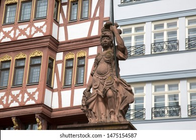 Minervabrunnen - Minerva Statue, Romerberg Square, Frankfurt; Germany