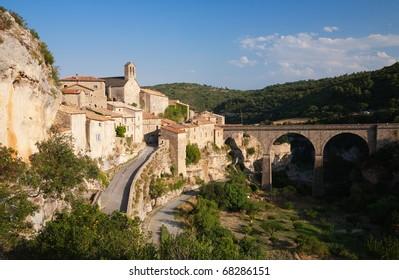Minerve village and bridge in France in summer sun
