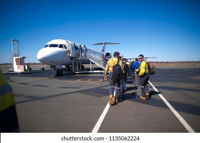 Mines are departure Newman airport after completed two weeks shut down work at mine site 21-6-18 Pilbara region, Perth, Australia