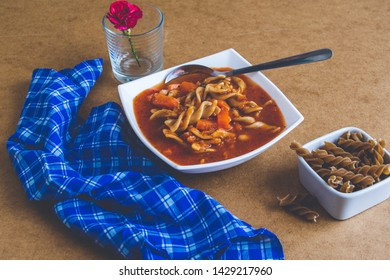 Minestrone dish ready to be served