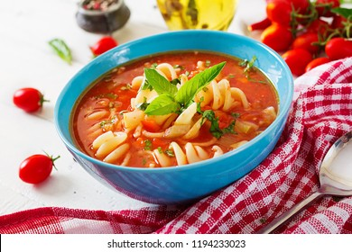 Minestrone, italian vegetable soup with pasta. Tomatoes soup. Vegan food.