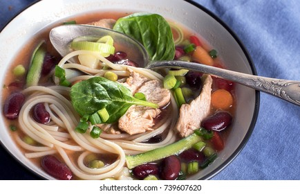 Minestrone soup. Healthy food concept.