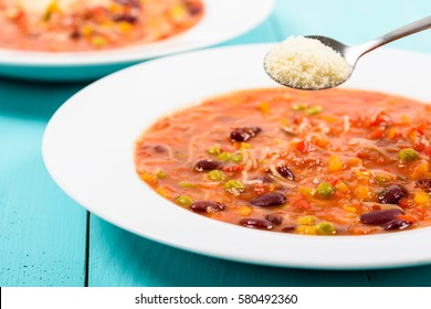 Minestrone Soup With Parmesan Cheese