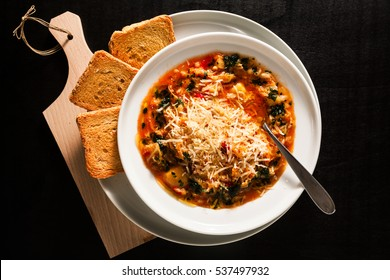 minestrone soup and Zwieback. dieting healthy food