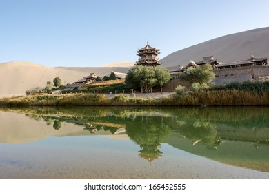 MingSha mountain sand dunes  and Crescent moon lake(Yueya Spring) in Dunhuang, Gansu, China