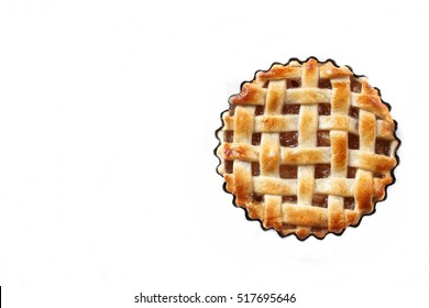 Mini Apple pie tart isolated on white