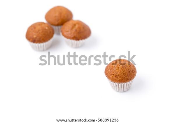 Mini banana cup cake isolated on white background