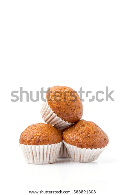 Mini banana cup cake isolated on white background