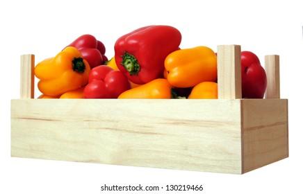 mini bell pepper in crate