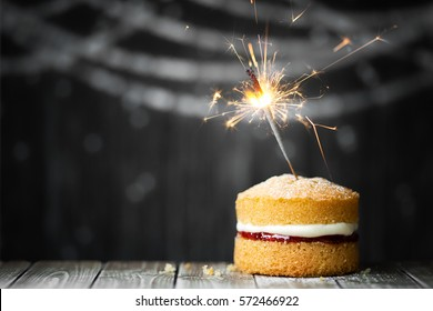 Mini birthday cake with celebration sparkler