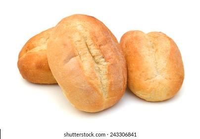 mini bread on white background