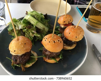 Mini burger sliders on plate