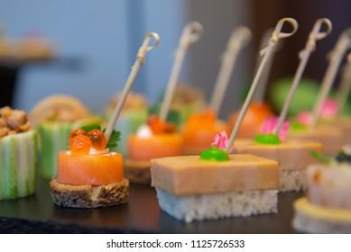 mini canape with smoke salmon
