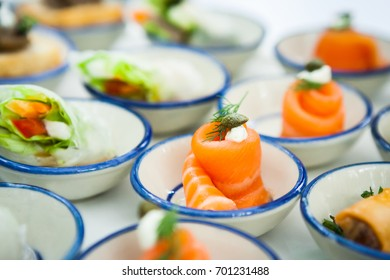 mini canapes with smoked salmon and soft chees appetizers.